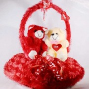 Beautiful Red Handle Heart with Valentine Teddy Bear Couple