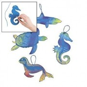 "24 ~ Magic Color Scratch Ocean Animal Ornaments ~ Assorted Styles ~ Includes 6 Scratching Tools ~ Approx. 3 3/4"" to 8"" ~ New"