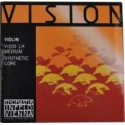 Thomastik VI100 Vision Saitensatz 1/4 Geige/Violine Nylonkern E-Saite Stahl verzinnt mittel Thomastik Vision Saitensatz für 1/4 Geige Thomastik Saiten für Violine Vision Saiten Nylonkern Saitenset Geigenseiten Saiten für Geige