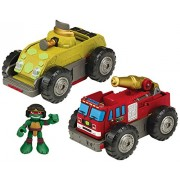 Teenage Mutant Ninja Turtles Pre-Cool Half Shell Heroes Mutations Fire Truck to Tank with Raphael Mutating Vehicle and Figure