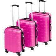 TecTake Trolley-set 3 delar hardcase rosa av TecTake