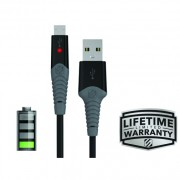 Cablu micro USB de incarcare si sincronizare strikeLINE™ LED (Alb, 1m)