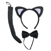 Black Cat Ears With Bow Tie And Tail