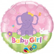 Balon Folie 45 cm Baby Girl Elefantel, Qualatex 13929