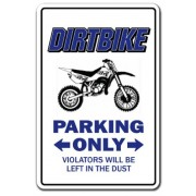 Dirtbike Parking Sign Gag Novelty Gift Funny Bmx Racing Cycle Bike Racing