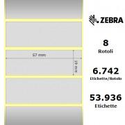 Zebra Z-Ultimate 3000T Silver - Etichette in poliestere di colore argento, formato 57 x 19 mm.