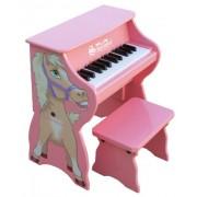 Schoenhut - Piano a 25 toni con sgabello, decorato con cavallo, colore: Rosa