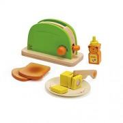 Hape 3602599 - Tostadora infantil con pan, mantequilla, miel, un plato y un cuchillo