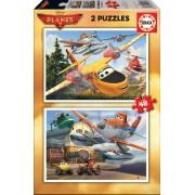 EDUCA 15956 Puzzle Cardboard Avioane, 2*48 bucăţi