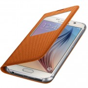 Husa tip carte S-View Samsung EF-CG920BOEGWW portocalie (textil) pentru telefonul Samsung Galaxy S6 (SM-G920)