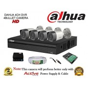 Dahua HDCVI DH-HCVR4104HS-S2 4CH DVR + DH-HAC-HFW1000RP-0360B Bullet Camera 4Pcs + 1TB HDD + Active Cable + Active Power Supply Full Combo