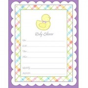 Amscan Rubber Ducky Baby Shower Party Pastel Gingham Scalloped Border Invitations Set (40 Piece) Multicolor 6 1/4 X 4