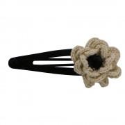 Clama de par, dama, Buticcochet, crosetata manual, Floare Crem, cu Perla Neagra