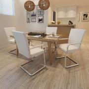 vidaXL Jídelní židle 4 ks, bílé, moderní design, imitace kůže