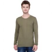 AERO Olive Green Slub Cotton Round Neck Slim Fit Full Sleeve Men's T-Shirt