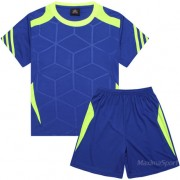 Детски футболен екип фланелка с шорти синьо и електриково зелено