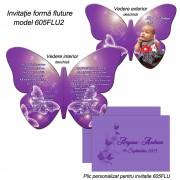 Invitatie Fluture Mov Cu Bebe