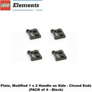 """Lego Parts: Plate, Modified 1 x 2 with Handle on Side - Closed Ends (PACK of 4 - Black) by """"Parts - Plates, Modified"""""""