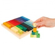 Grimm's Small Mosaic Square Building Set of 100 Wooden Cube Blocks with Storage Tray 2x2 Size