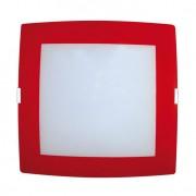 Plafon Sobrepor Quadrado Médio 2 Lâmpadas E27 Borda vermelha Bivolt