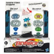 Hasbro Beyblade Metal Master 2 pack Shadow Strike Stand - Set de 2 peonzas Beyblade con lanzadores, colores variados