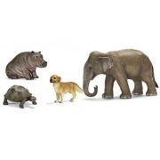 Schleich Unlikely Friendships Animals Set Of Giant Tortoise, Hippo Calf, Dog And Elephant