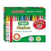 Carioca lavabila, 18 x 12 culori/cutie, ALPINO Standard Economy pack - ideale pt. scoli si gradinite