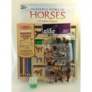 Horse Lover Stamp and Color Bundle - 4 Items: Wooden Stamp Set Pony Stickers Horses Coloring Book and Pencil Sharpener