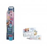 Periuta electrica ORAL-B D2010 Baby Girl + Pasta de Dinti R.O.C.S.Kids Fruity Cone fara fluor