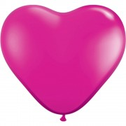 "Baloane latex in forma de inima, Jewel Magenta, 6"", Qualatex 99328"