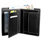 Hárombahajtott valódi bőr pénztárca fehér varrással - 495035010065