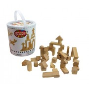 Wooden Blocks - 42 Pc Wood Buliding Block Set with Carrying Bag and Container (Natural Colored) - 100% Real Wood
