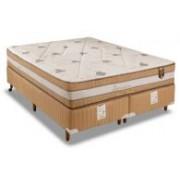 Conjunto Box Colchão Orthoflex Molas Pocket Sensitive Foam + Cama Nobuck Café - Conjunto Box Casal - 138 x 188