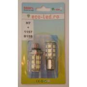 Blister set becuri auto H7 + 1157/B15S LED alb
