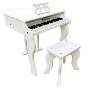 Schoenhut Elite - Pianoforte a coda per bambini, 37 tasti, colore: bianco
