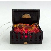 Casa De Muñecas Miniatura Accesorio Chimenea 12V Luz Que brilla intensamente Chimenea De Leña en Parrilla