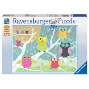 Puzzle Bufnite colorate, 500 piese