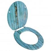 vidaXL Седалка за тоалетна чиния с капак от MDF, античен дървен дизайн