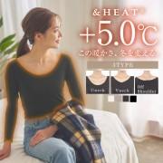【SALE開催中】≪今だけ!!≫[&HEAT]寒い冬も快適に+4.2℃![M/L]選べるUorVネック♪発熱ロングTシャツ/抗菌防臭/インナー/ロンT[H500]