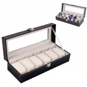 6-Piece Leather Wrist Watch Display Storage Organizer Windowed Case Watch Box Container - Black