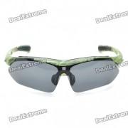 UV400 Proteccion PC lente gafas de sol de marco de resina / Set Goggles - Camuflaje verde del marco