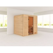 KARIBU Sauna Massivholzsauna SPARSET Oslo 2 Ganzglastür bronziert, inkl. 9 kW Ofen integr. Steuerung
