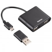 Hub USB 2.0, 2 porturi, OTG, negru, HAMA