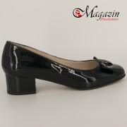 Pantofi dama office negri piele lac cu fundita - Giulio 0265-27