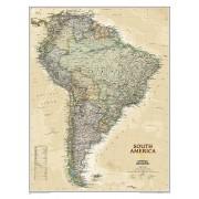Wandkaart Zuid Amerika, politiek & antiek, 60 x 77 cm | National Geographic