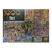D-Toys Cartoon 2-in-1 Desert Oasis/ Tower of Pisa Jigsaw Puzzles (1000 Pieces)