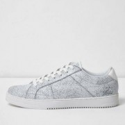 River Island White cracked coated lace-up trainers