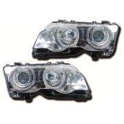 Faruri Angel Eyes cu reglaj electronic incorporat BMW Seria 3 Coupe E46 98-01 crom