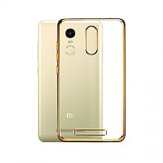 Cables Kart Xiaomi Redmi Note 3 Golden Transparent Silicon Electroplated Edges TPU Back Case Cover - Transparent/Gold Border