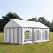 Profizelt24 Partyzelt 4x6m PVC grau-weiß Gartenzelt, Festzelt, Pavillon